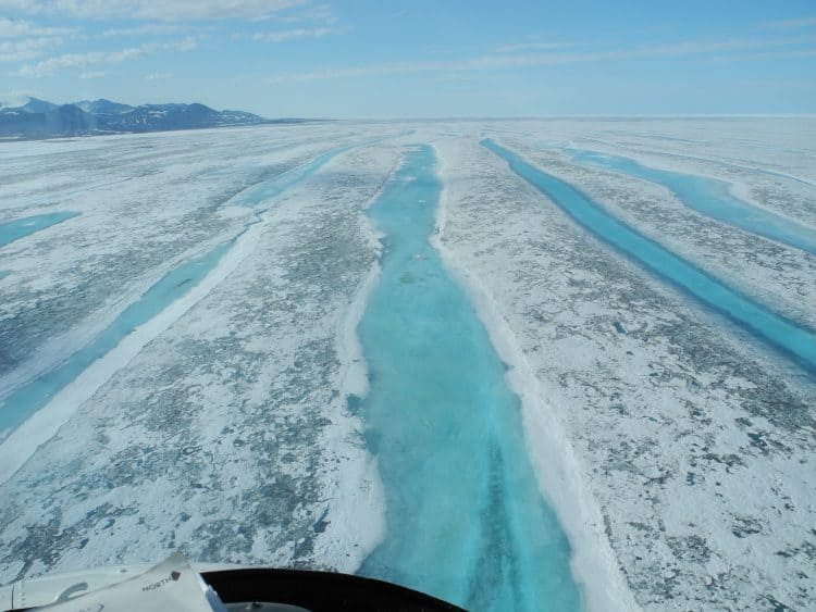 What's left of the Ward Hunt Ice Shelf in the Last Ice Area after breaking apart in 2011. Credit: CEN, Laval University, Quebec City, CA.