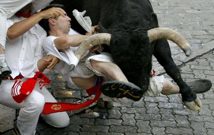 A fallen runner gets trampled by a Ventorrillo fighting bull on the fourth day of the running of the bulls at the San Fermin festival in Pamplona July 10, 2008. (REUTERS / Joseba Etxaburu)
